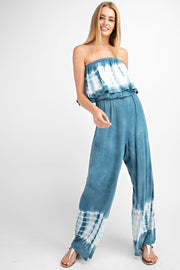 Let It Go Ruffle Denim Blue Tie Dye Wide-Leg Jumpsuit - Open Your heart boutique