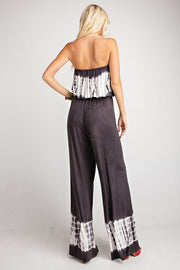 Let It Go Ruffle Charcoal Tie Dye Wide-Leg Jumpsuit - Open Your heart boutique