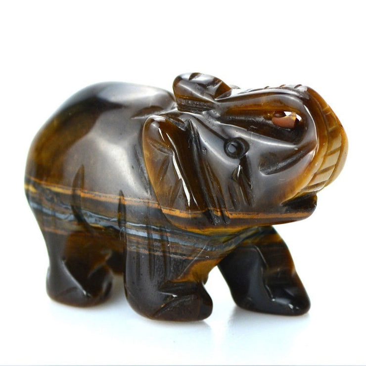 1.5''/2'' Rockcloud Healing Crystal Guardian Elephant Pocket Stone Figurines Carved Gemstone Crafts Home Decor - Open Your heart boutique