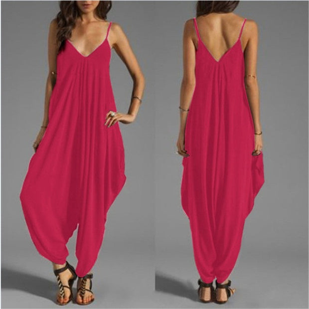 Summer New Casual Sexy Women Sleeveless Deep V-Neck Jumpsuits Backless Spaghetti Strap Rompers - Open Your heart boutique