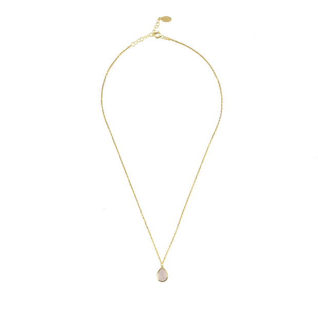Pisa Mini Teardrop Necklace Gold Rose Quartz - Open Your heart boutique