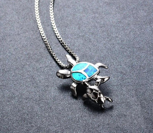 Mother & Baby Sea Turtle Necklace - Open Your heart boutique
