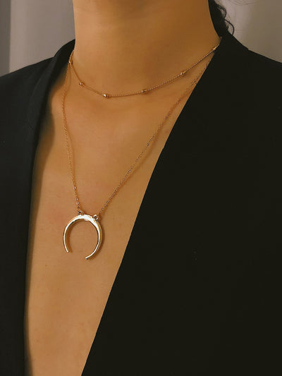Metal Moon Pendant Necklace With Chain Choker 2pcs - Open Your heart boutique