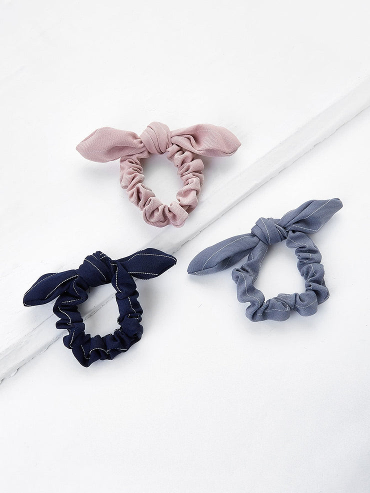 Knotted Bow Striped Hair Tie 3pcs - Open Your heart boutique