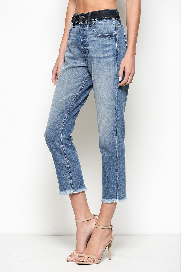 Zoey Light Wash High Rise Repaired Waist Band Mom Jean - Open Your heart boutique