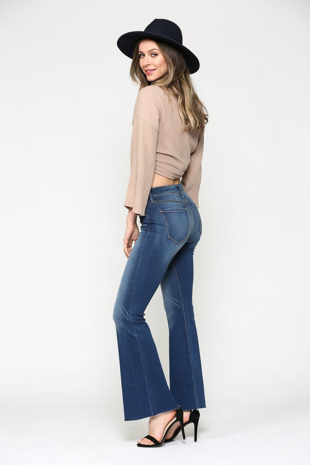 RYAN DARK WASH CLEAN STRETCH FLARE - Open Your heart boutique