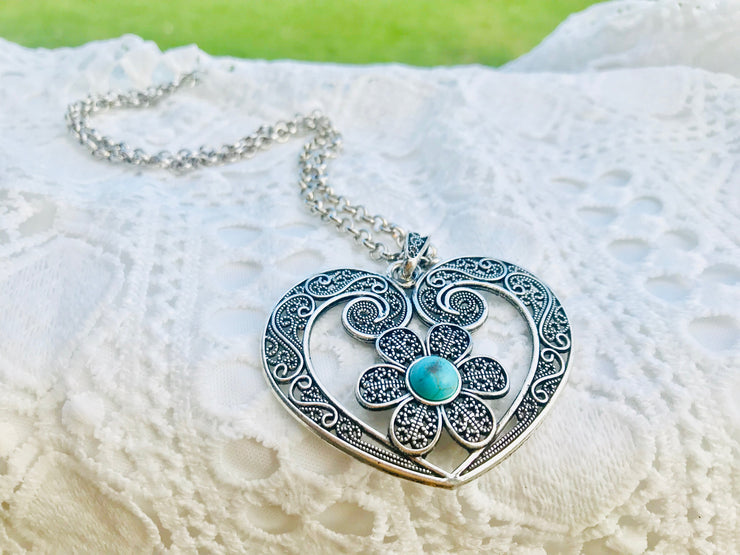 Wild at Heart Necklace with Turquoise Daisy Design - Open Your heart boutique