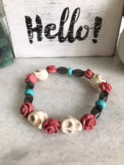 Grateful Dead Inspired Turquoise, Hematite and Howlite Healing Stone Bracelet with Roses - Open Your heart boutique
