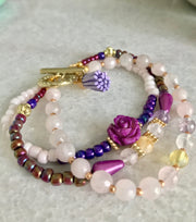 Dream Bracelet with Rose Quartz, Amethyst, Citrine and Prehnite - Open Your heart boutique