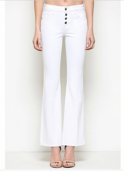 "Penny Lane White Four Button 31"" Inseam Flare - Open Your heart boutique"