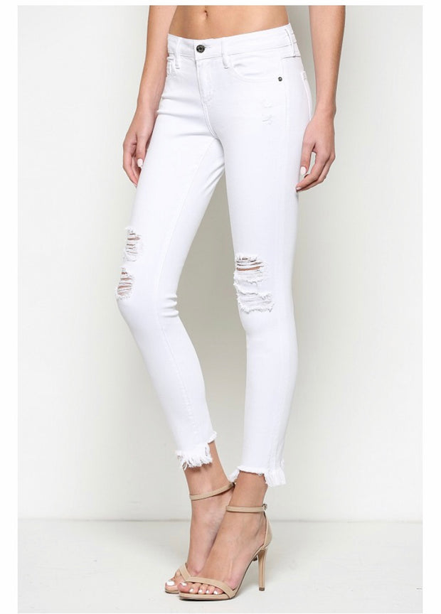 Payton White Distressed Skinny - Open Your heart boutique