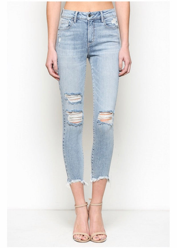 Chelsea Light Wash Distressed High Rise Skinny - Open Your heart boutique