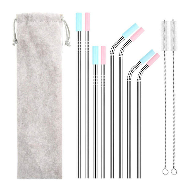 Long Stainless Steel Metal Drinking Straws With - Open Your heart boutique