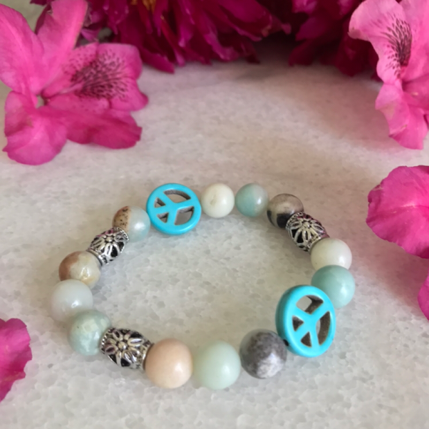 Peace Bracelet Amazonite Gemstones and Turqouise - Open Your heart boutique