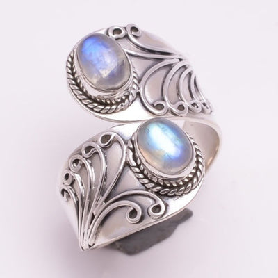 Rainbow Moonstone Silver Ring 925 Sterling Silver Jewelry Size 6 to 10 US - Open Your heart boutique