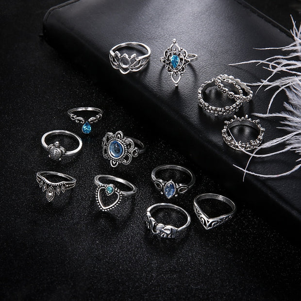 Stella Bohemian Stackable Ring Set Sapphire Lotus Design - Open Your heart boutique
