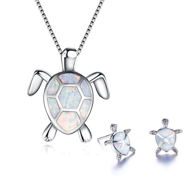 Unique Creative Design  Turtle Pendant Necklace And Earrings - Open Your heart boutique