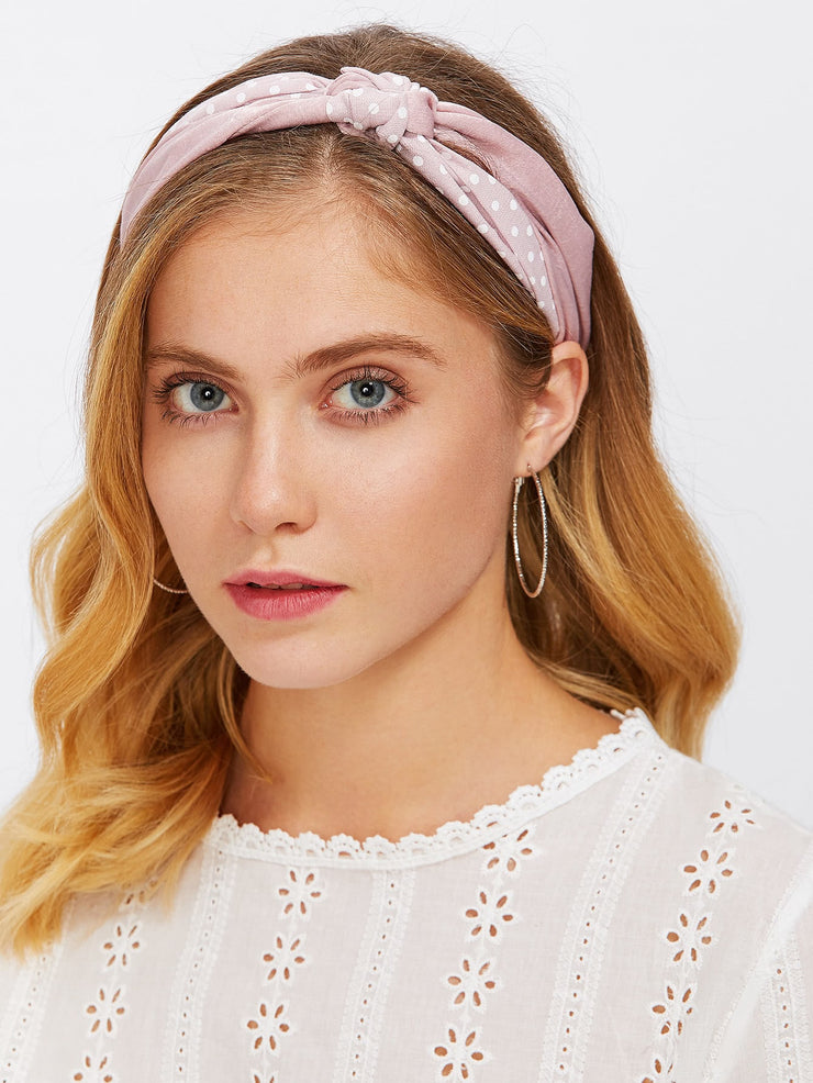 Polka Dot Knot Headband - Open Your heart boutique