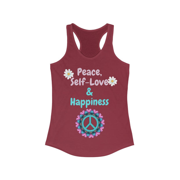 Peace, Self-Love & Happiness Racerback Tank - Open Your heart boutique