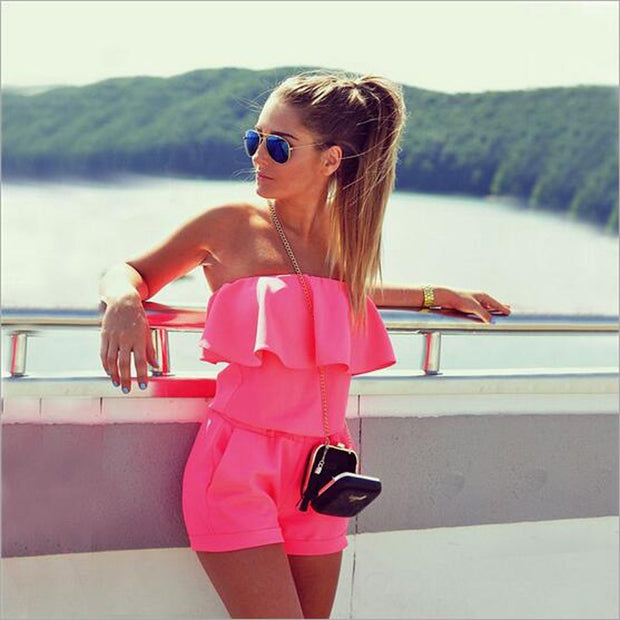 Summer New Women's Fashion Red Slim Jumpsuit Sexy Off Shoulder Strapless Slash Neck Mini Rompers - Open Your heart boutique