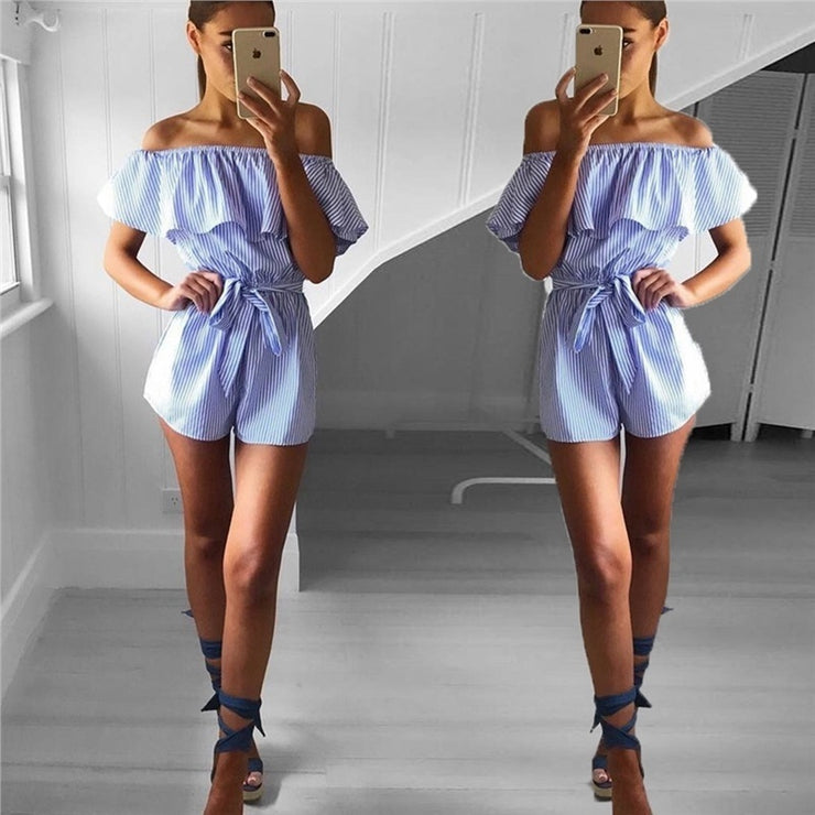 Women's One-Piece Rompers Off The Shoulder Jumpsuits Ruffle Skirt Pants - Open Your heart boutique