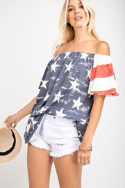 United As One Stars and Stripes Flutter Sleeve Jersey Knit Top - Open Your heart boutique
