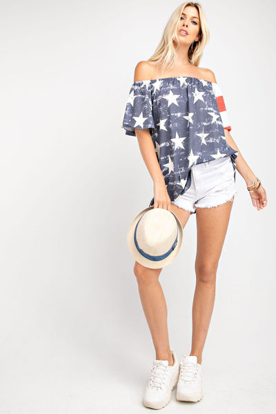 United As One Fourth Of July Flutter Sleeve Jersey Knit Top - Open Your heart boutique