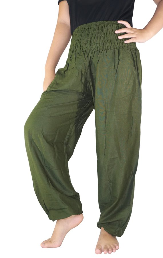 Sun Rise Olive Green Boho Yoga Pants - Open Your heart boutique