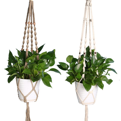 Vintage Knotted Plant Hanger Basket Flowerpot Holder Macrame Lifting Rope Garden Home Decoration Flower Plant Accessories - Open Your heart boutique