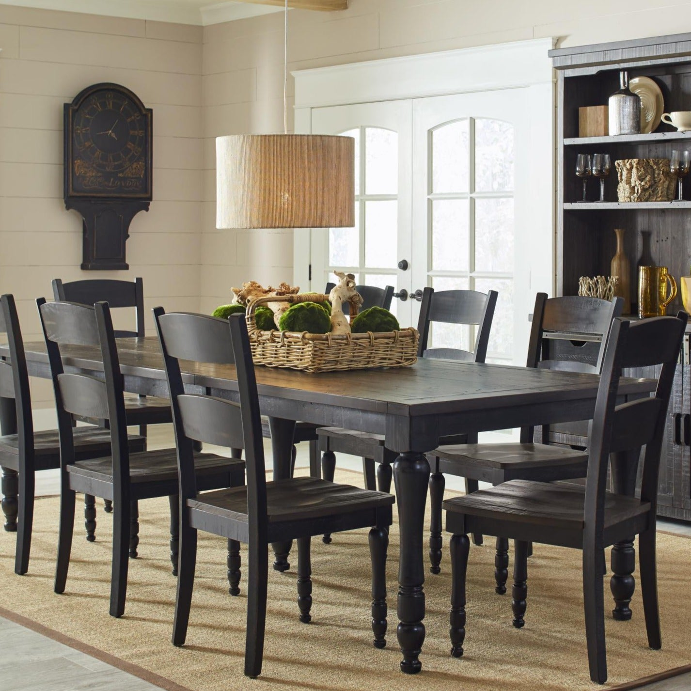 Urban Loft 7-Piece Extendable Dining Set in Vintage Black