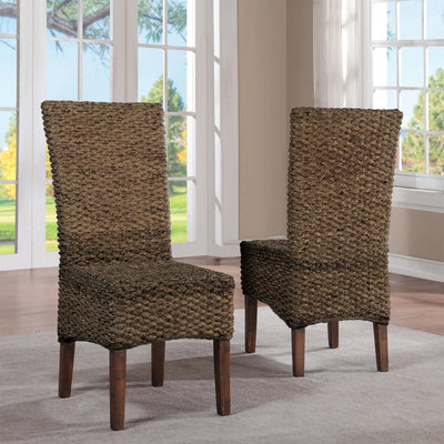 Mix-n-Match Chairs Woven Side Upholstered Chair Set of 2