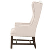 Bennett Arm Chair in Jute w/ Gray Stripe Fabric