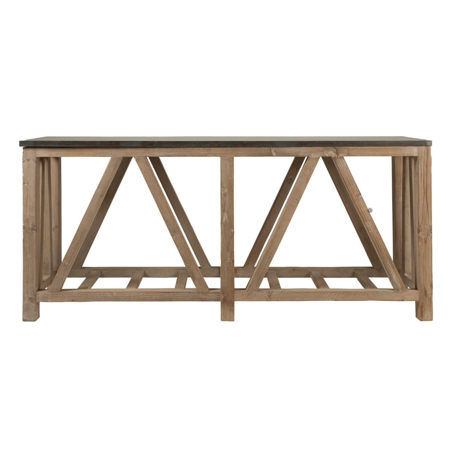 Blue Stone Console Table in Smoke Gray Pine