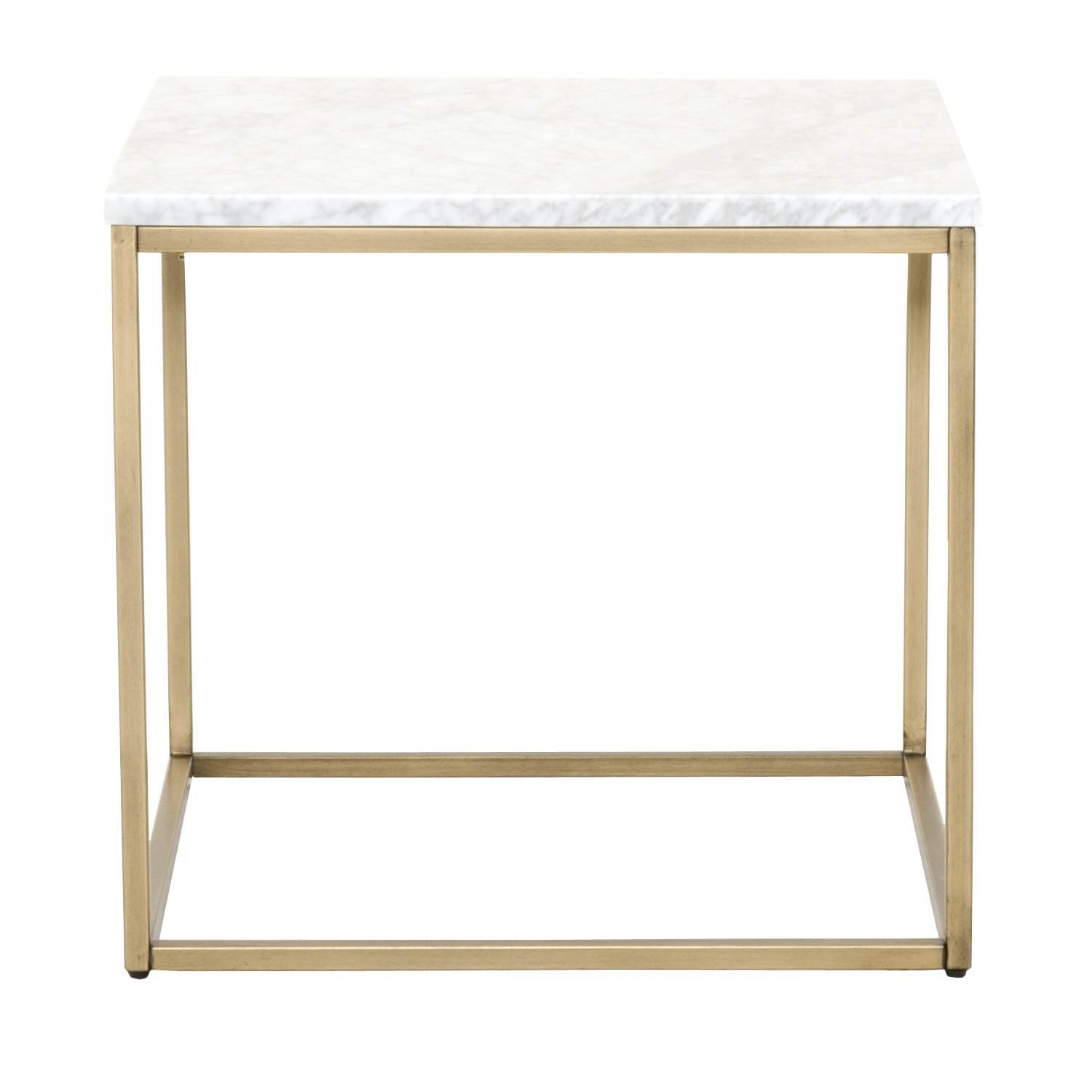 Carrera End Table in White Carrera Marble