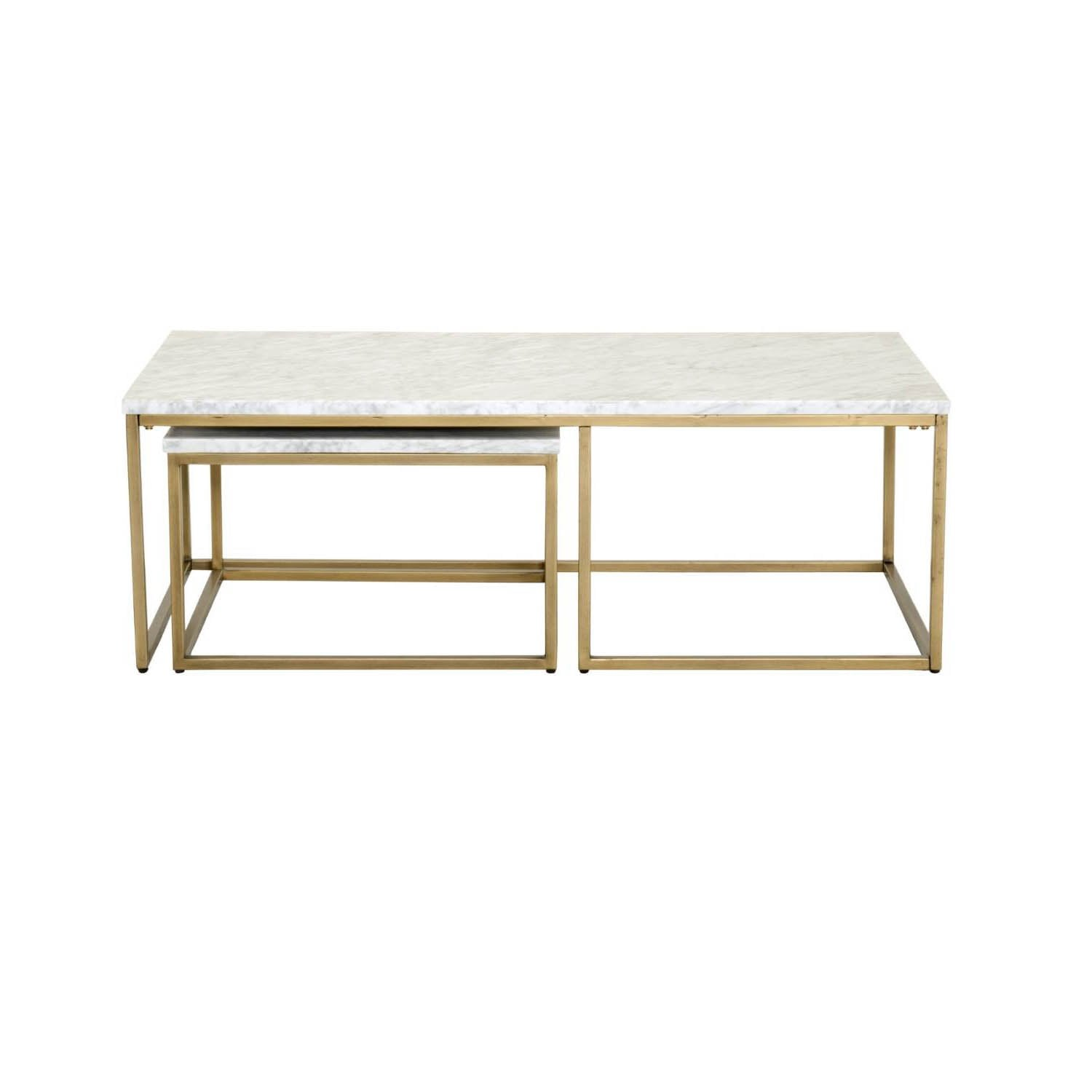 Carrera Nesting Coffee Table in White Carrera Marble