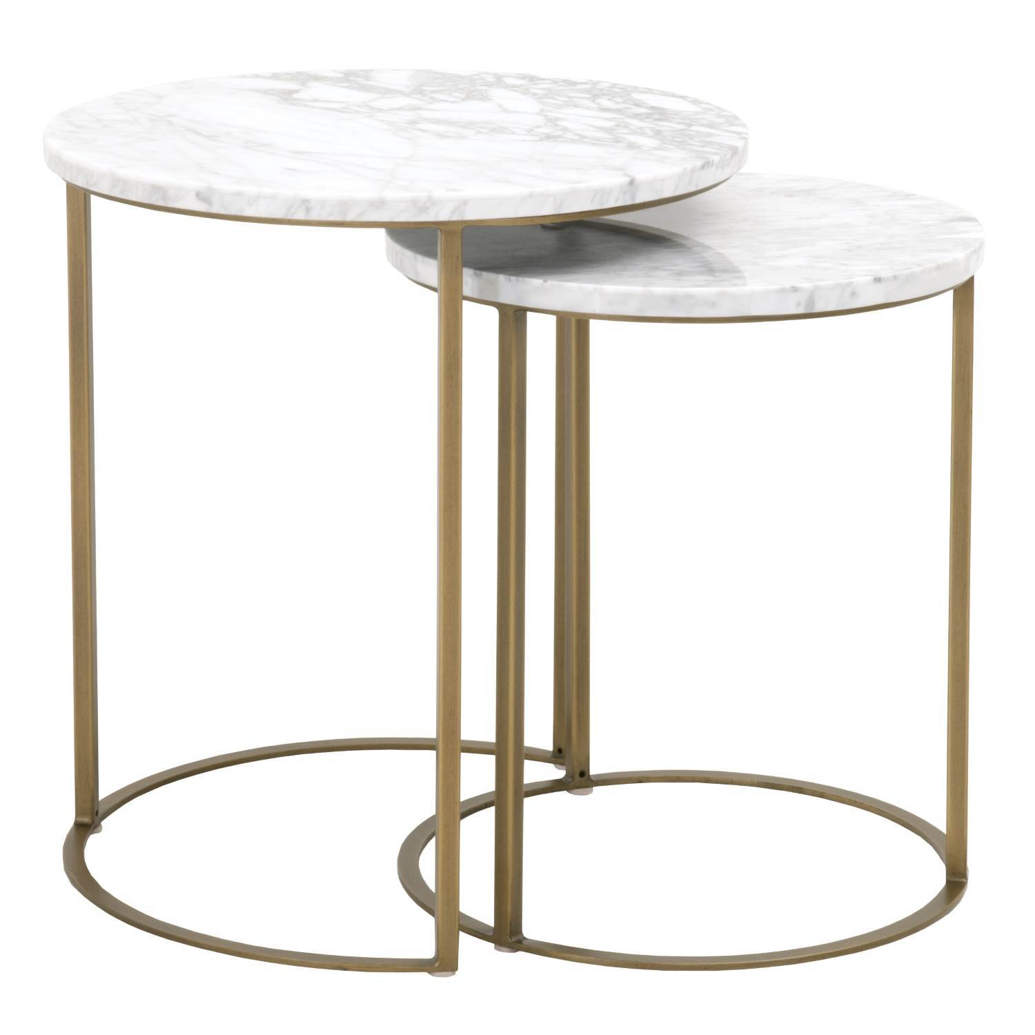 Carrera Round Nesting Accent Table in White Carrera Marble,  Brushed Gold