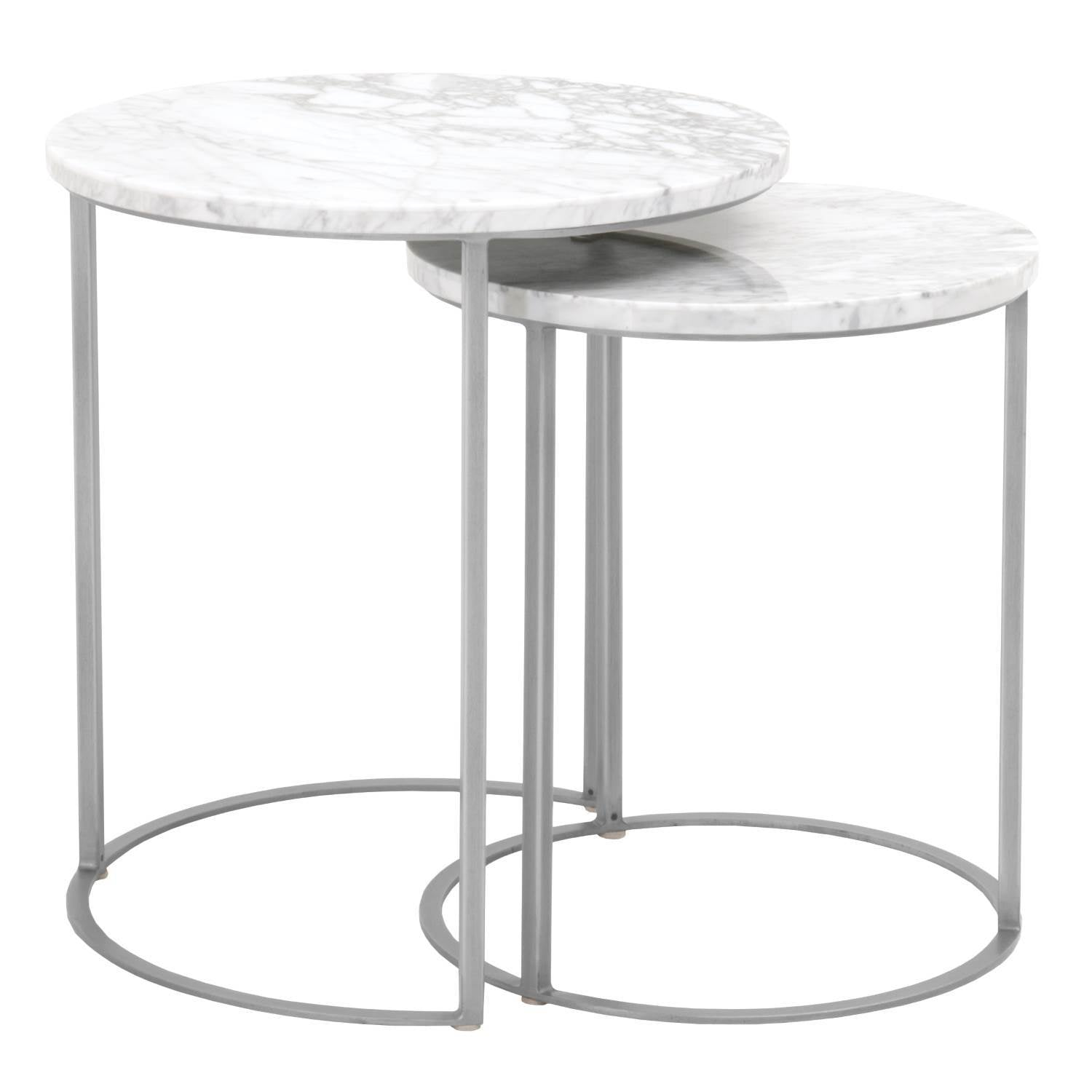 Carrera Round Nesting Accent Table in White Carrera Marble,  Brushed Stainless Steel