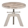Charlie Round End Table in Weathered Elm