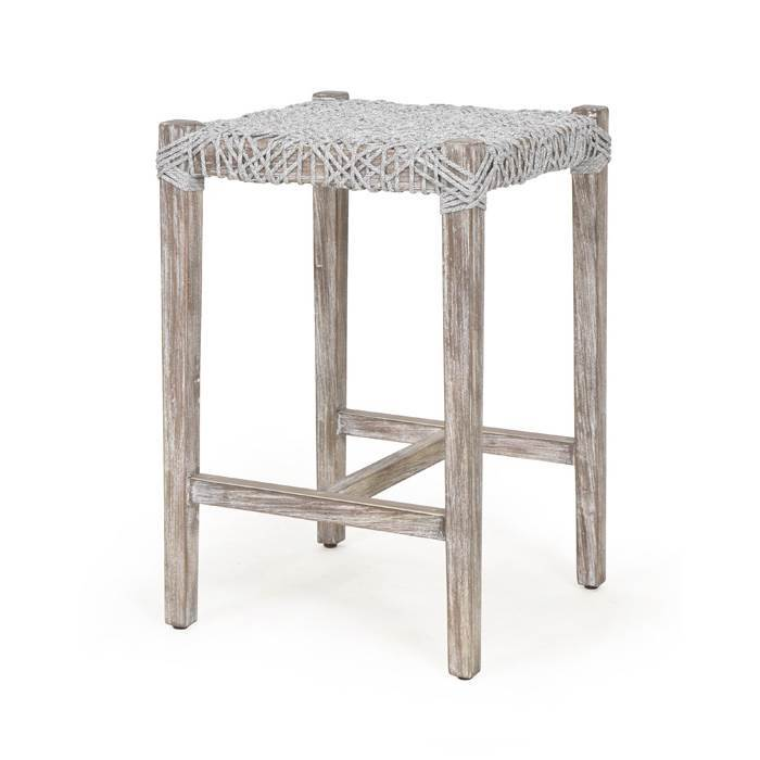 Costa Counter Stool in Taupe & White Flat Rope