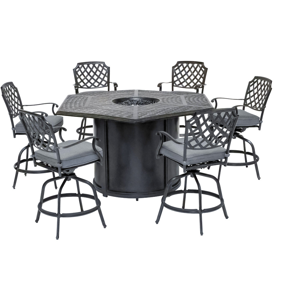 Charcoal 7-Piece Outdoor Bar-Height Gas Firepit Dining Set