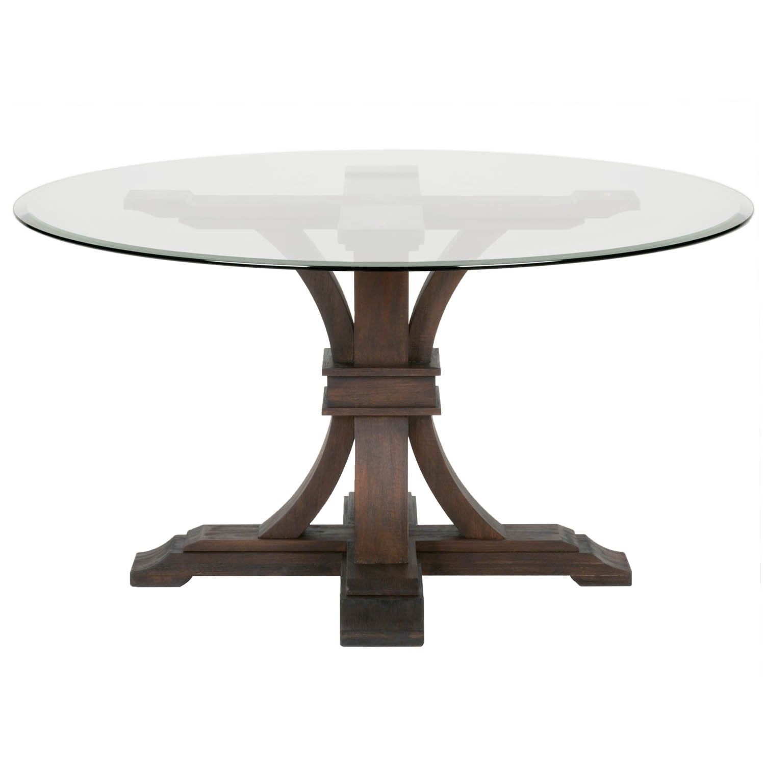 "Devon 54"" Round Glass Dining Table in Rustic Java"