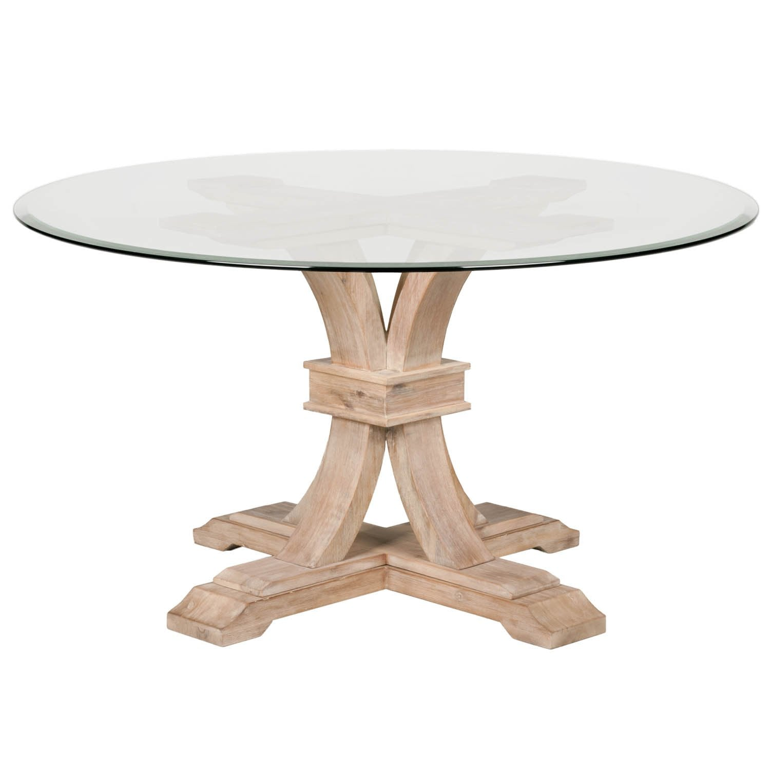 "Devon 54"" Round Glass Dining Table in Stone Wash"