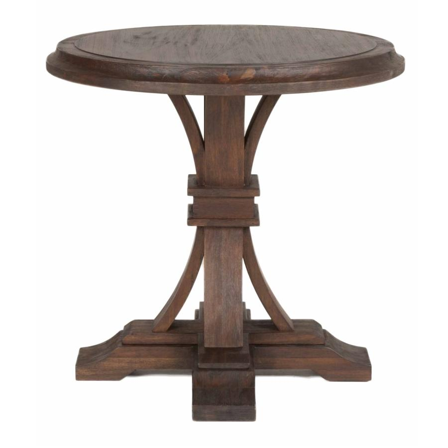Devon Round Accent Table in Rustic Java