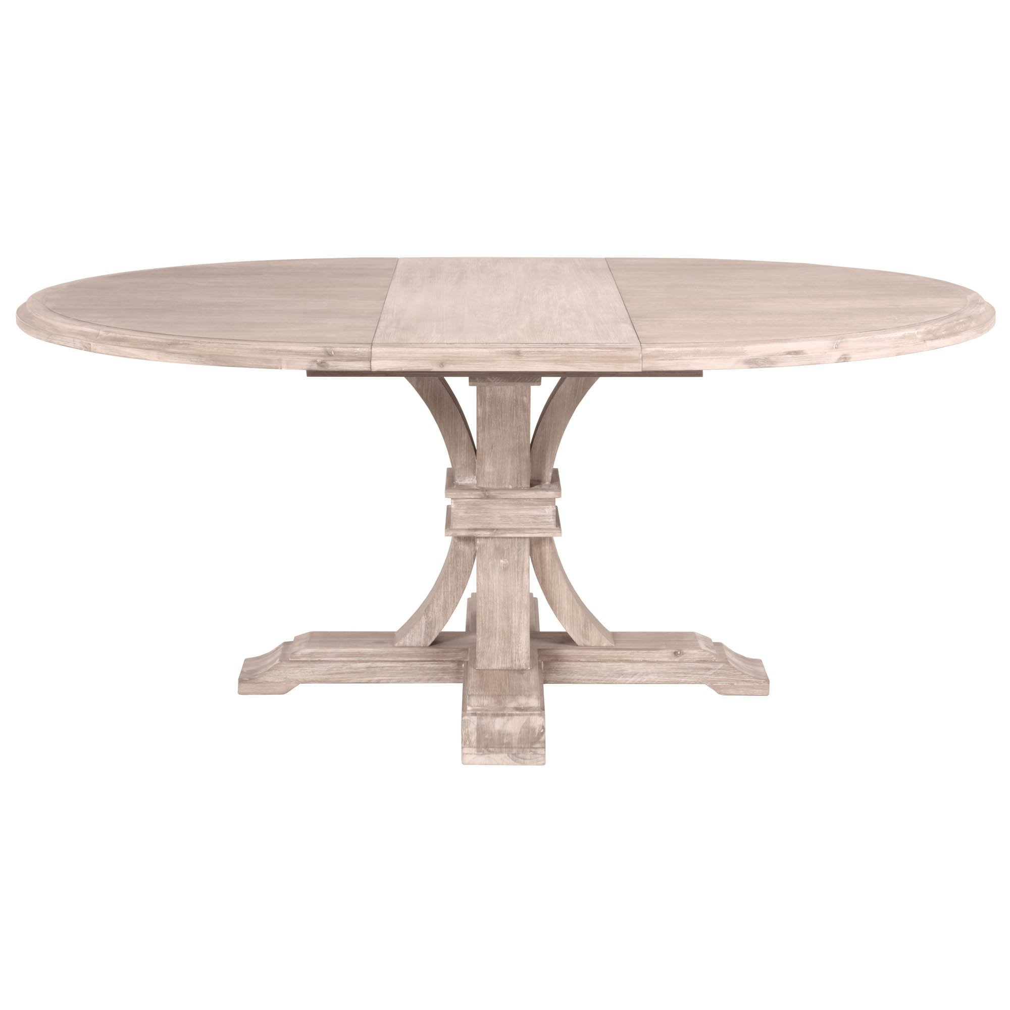 "Devon 54"" Round Extension Dining Table in Natural Gray"