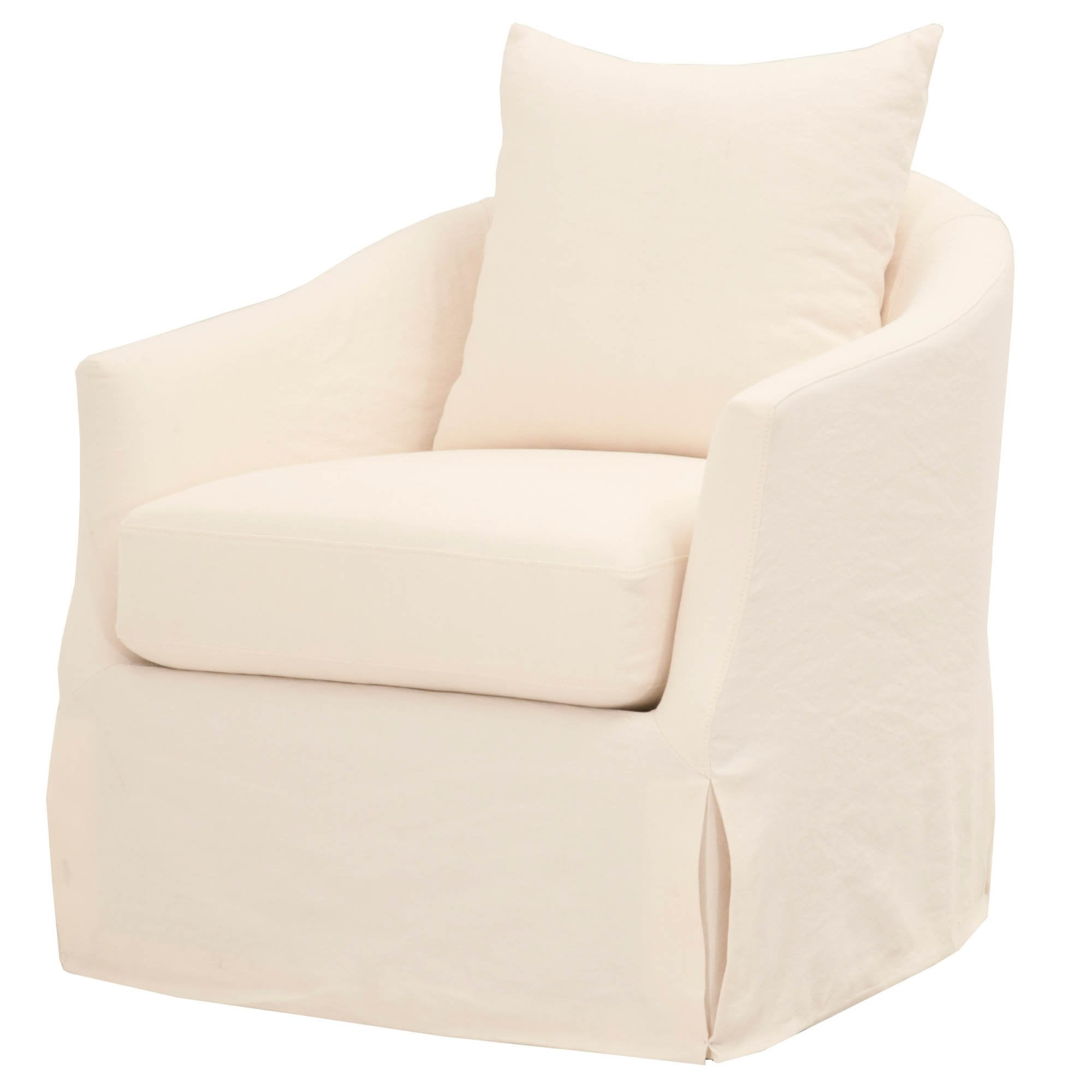 Magnificent Faye Slipcover Swivel Club Chair In Cream Crepe Fabric Theyellowbook Wood Chair Design Ideas Theyellowbookinfo