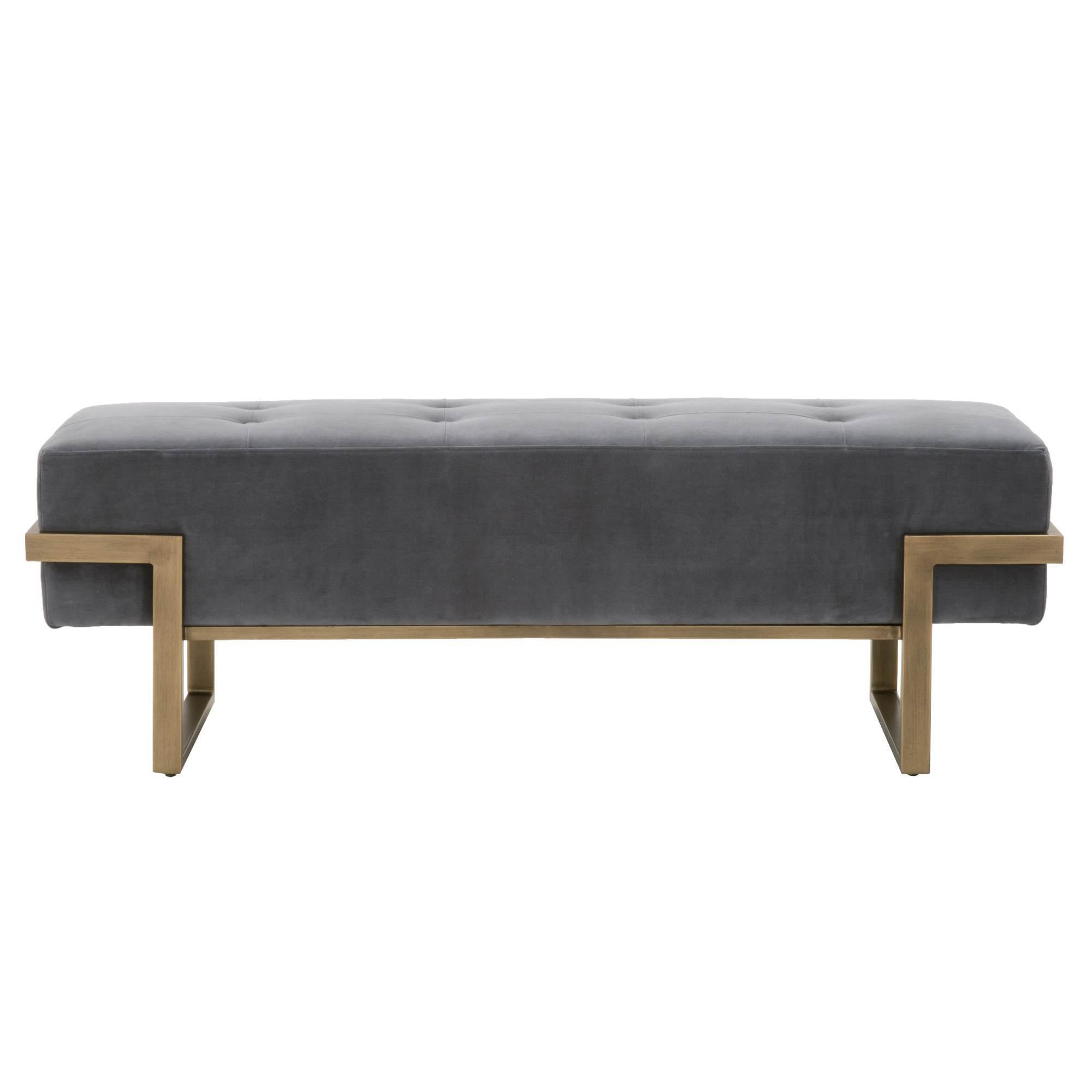 Fiona Upholstered Bench in Blush Gray Velvet