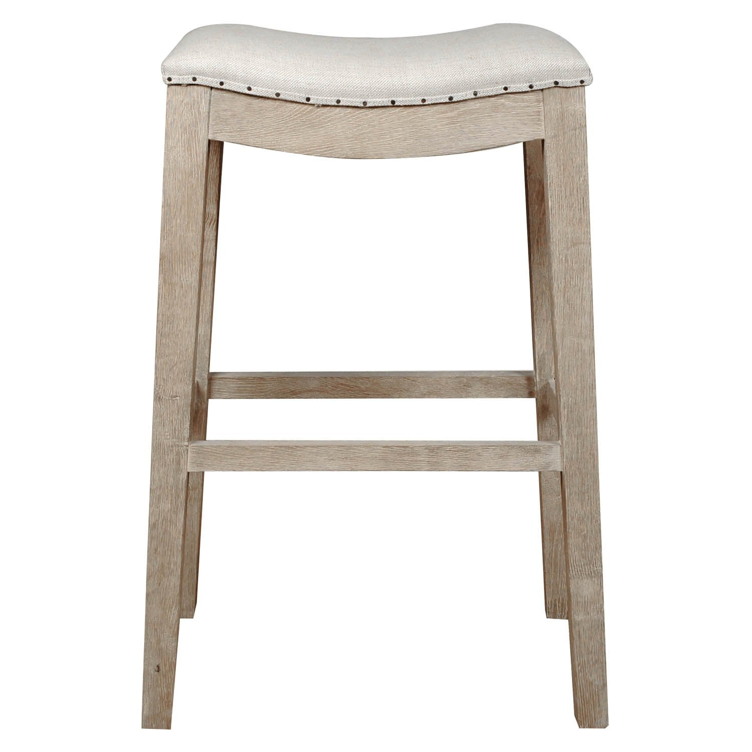 Harper Barstool in Bisque French Linen,  Stone Wash Oak