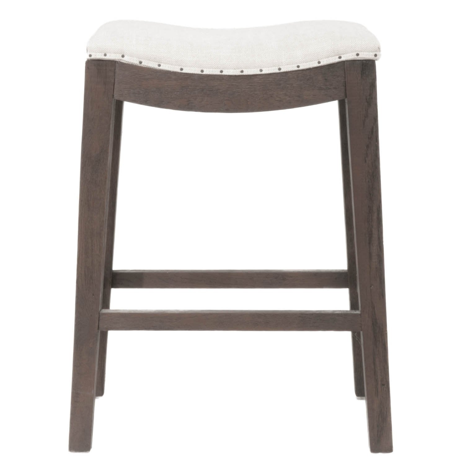 Harper Counter Stool in Bisque French Linen,  Rustic Java Oak