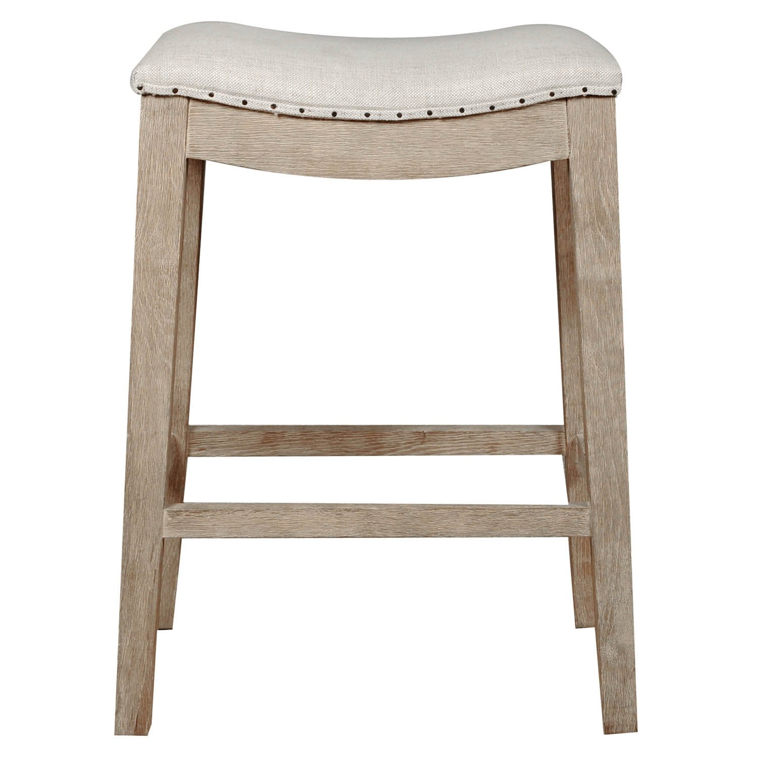 Harper Counter Stool in Bisque French Linen,  Stone Wash Oak