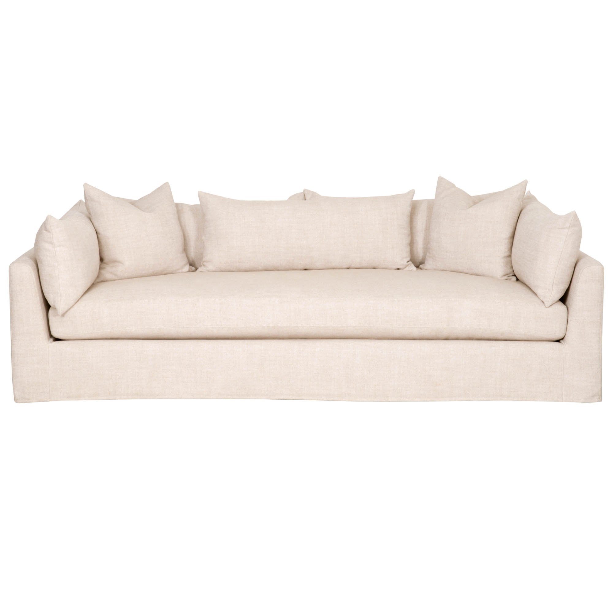 "Haven 95"" Lounge Slipcover Sofa in Bisque Fabric"